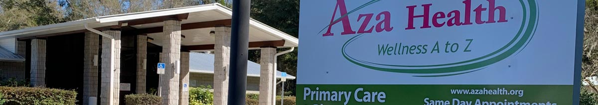The images shows the exterior of the Aza Health location and a portion of the business sign at the street. Aza Health in Crescent City is located at 306 Union Avenue.