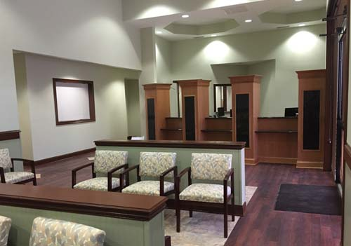 Image depicts the reception area and check-in desk at the Aza Health Palm Coast location at 406 Palm Coast Parkway SW Palm Coast Florida.
